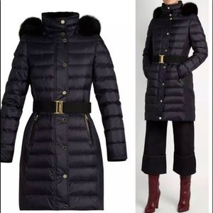 Burberry London Abbeydale Down Puffer Coat with Fur Hood size XL
